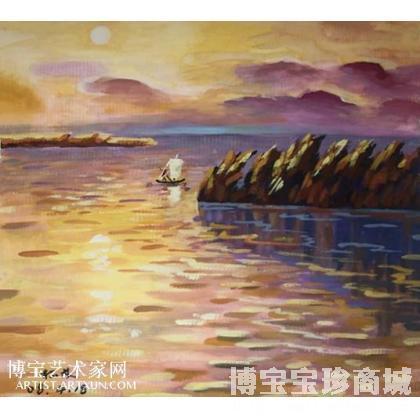 水彩画女夕阳海边